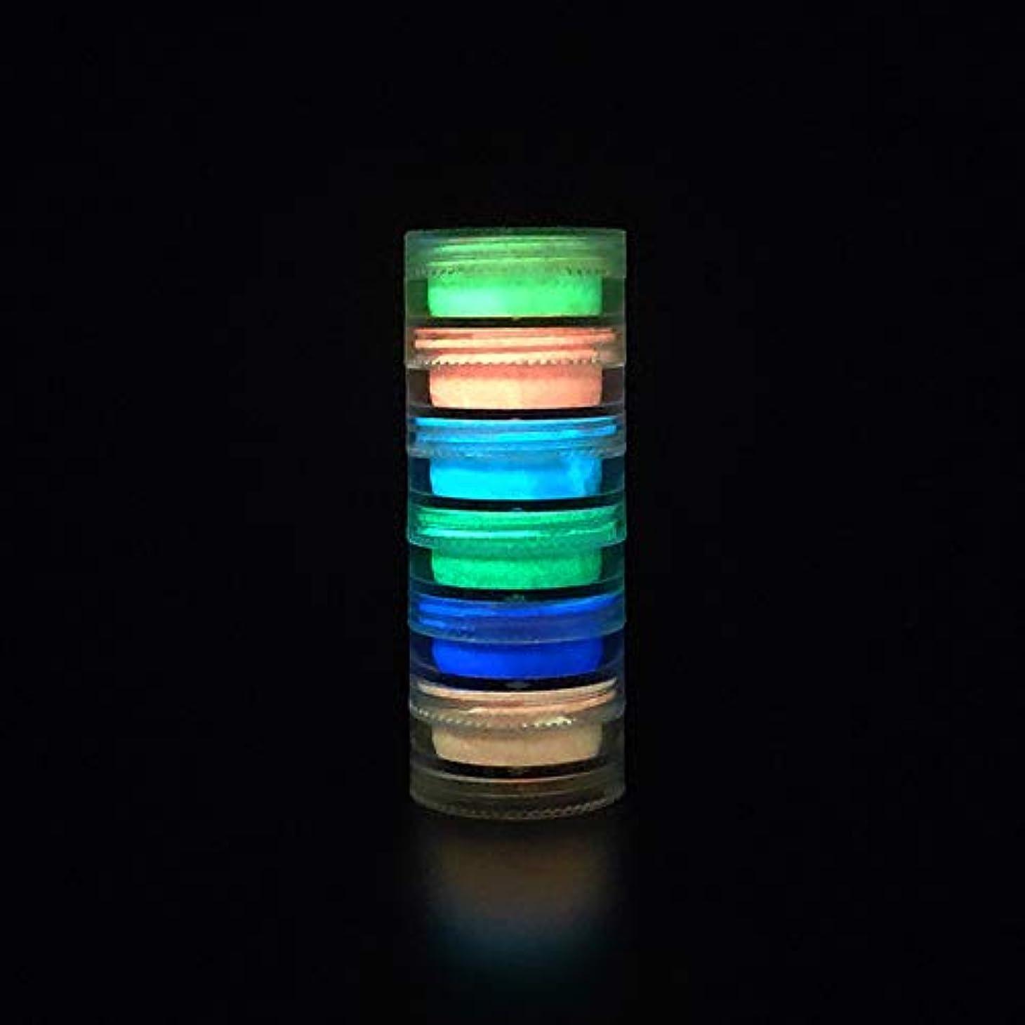 かき混ぜる陸軍疲労Murakush ネイルアート 6個 蛍光装飾 パウダー ネイルアート コーティング ルミナス ブライト ナイトライトパウダー 3#