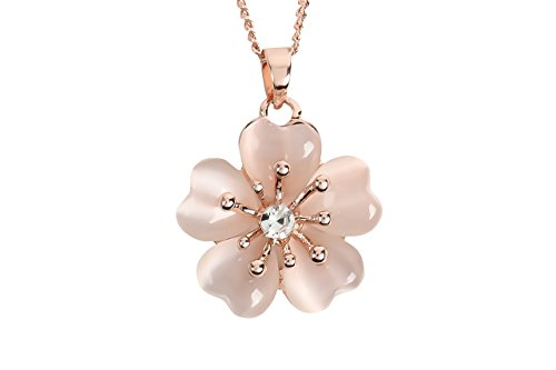 [LUCIA]ルシーア 18Kピンクゴールドメッキ 淡いピンク桜ネックレス CZダイヤモンド -