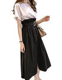 [アルトコロニー] ハイウエスト スカート ロング ベルト付き ミモレ 半袖 tシャツセット 上下セット M~ 2XL レディース