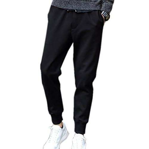 (シャンディニー) Chandeny カジュアル アンクル タイド パンツ メンズ スリム ロング ズボン 無地 シンプル 15059 ブラック XL サイズ
