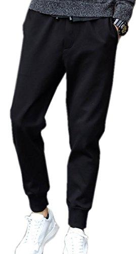 (シャンディニー) Chandeny カジュアル アンクル タイド パンツ メンズ スリム ロング ズボン 無地 シンプル 15059 ブラック 4XL サイズ