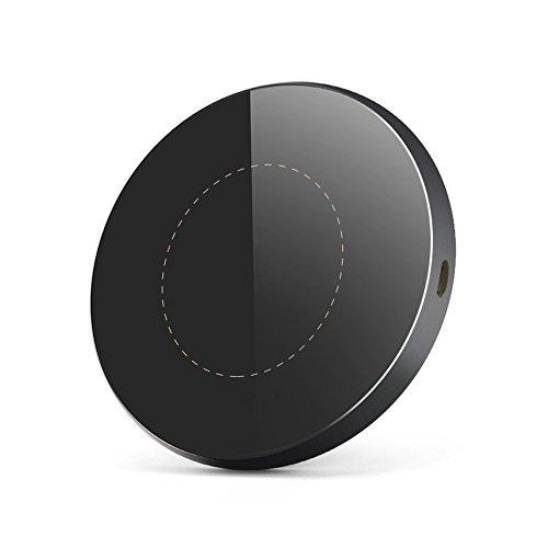 Ewin「進化版」Qi ワイヤレス充電器 急速充電 (第2世代 10W) ワイヤレスチャージャー 置くだけ充電 iPhone X/8/8 Plus/Galaxy S8/S8 Plus/S7/S7 Edge/S6/S6 Edge/Note 8/Note 5/Nexus 5/6 対応 他のQi対応機種 qi 充電器 USBケーブル付(G3丸形, ブラック)