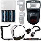 Canonスピードライト470ex-aiフラッシュ+オフカメラシューコード+ 4AA充電式電池&充電器(ホワイト) +ユニバーサルフラッシュバウンスディフューザーフラッシュブラケット+クリーニングペン–Completeフラッシュアクセサリーバンドル