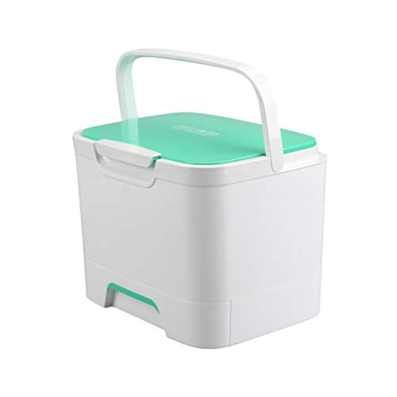 結果として高い楽観医療キットポータブルポータブル家庭用薬収納ボックス多層医療ボックス高品質プラスチック付きバックルグリーン SYFO