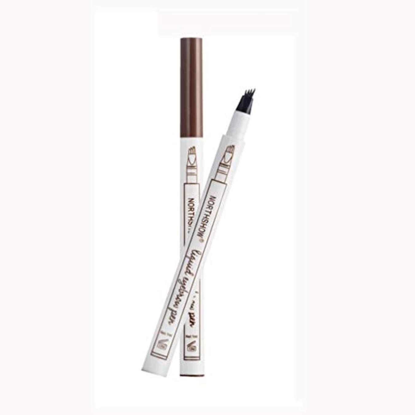 Onior タトゥーアイブロウペン4つのヒント - 防水フォークチップスケッチ化粧ペンマイクロブレードインクスケッチB丈夫で実用的