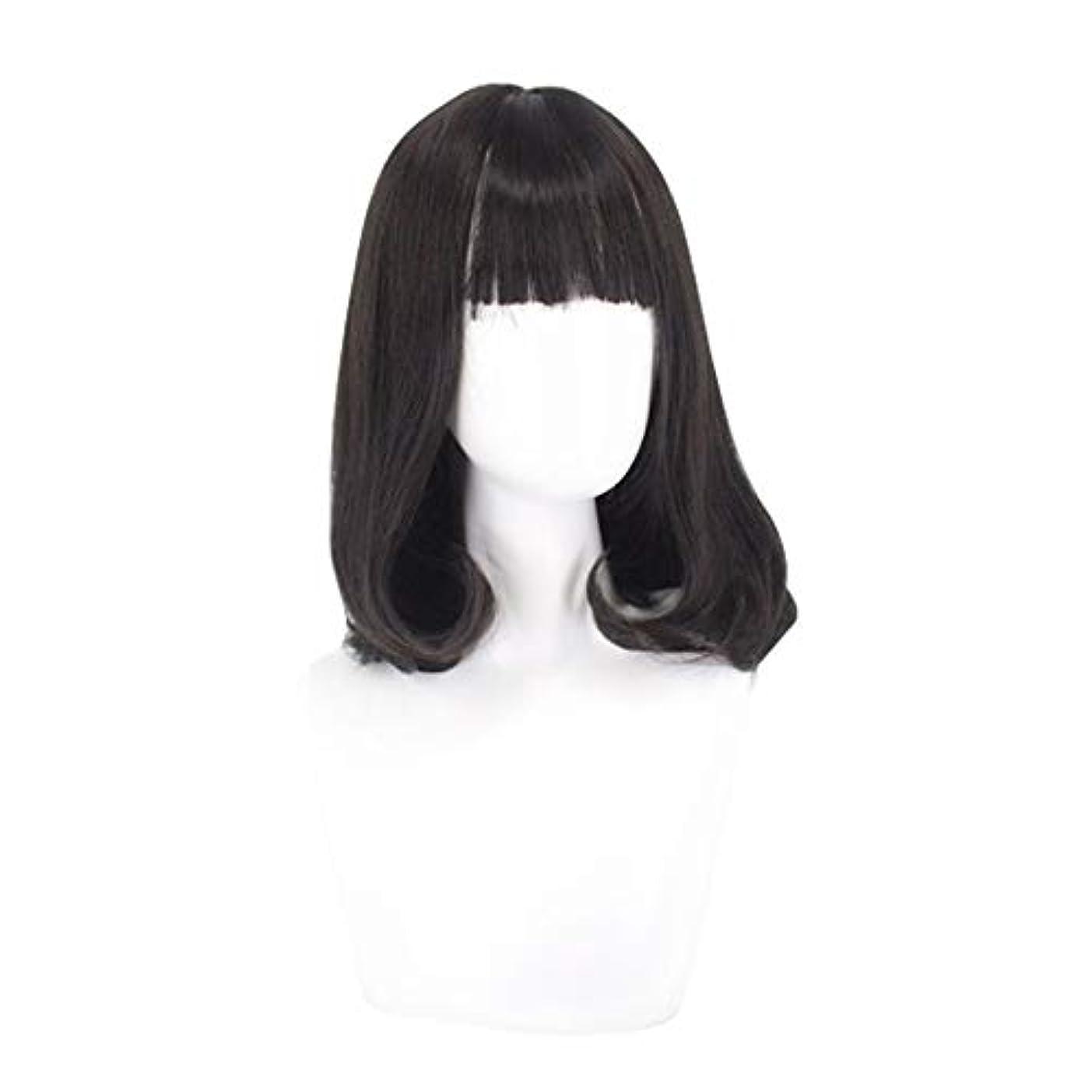 良性インターネット港ウィッグミディアムロングヘアー女性のためのふわふわウェーブのかかった髪かつら自然に見える耐熱性のある合成ファッションウィッグミディアムロングヘアーカーリーかつら,黒