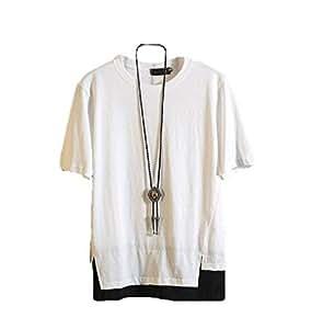 【Smile LaLa】 メンズ tシャツ カットソー トップス 半袖 大きい サイズ オシャレ コーデ 重ね着 シンプル (ホワイト, XL)
