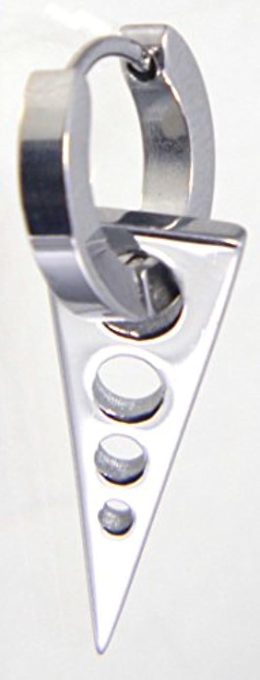 写真かけがえのない書き込み三角ピアス 中折フープ ステンレス 片耳リングピアス シルバー ピアス ロックファッション