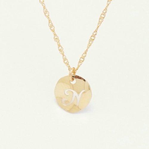 Initial N 18金製 K18 gold ゴールド (日本製 Made in Japan) (金属アレルギー対応) イニシャル 「N」 波型 プレート ペンダント ネックレス スクリュー チェーン ジュエリー (Amazon.co.jp 限定) [HJ] (45 センチメートル)