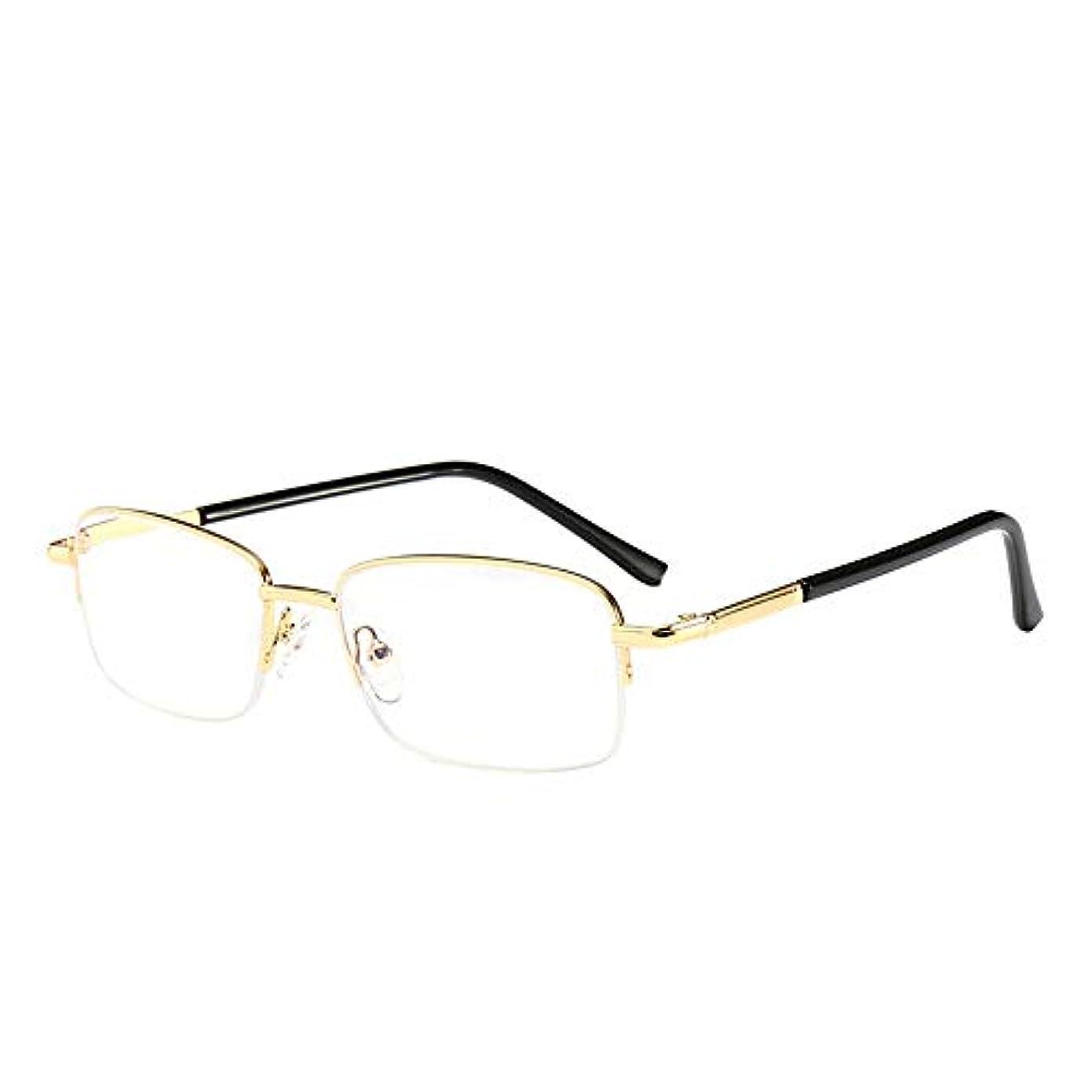 老眼鏡、 ハーフフレームメタルアンチブルー老眼鏡、 男性と女性のための遠視老眼鏡