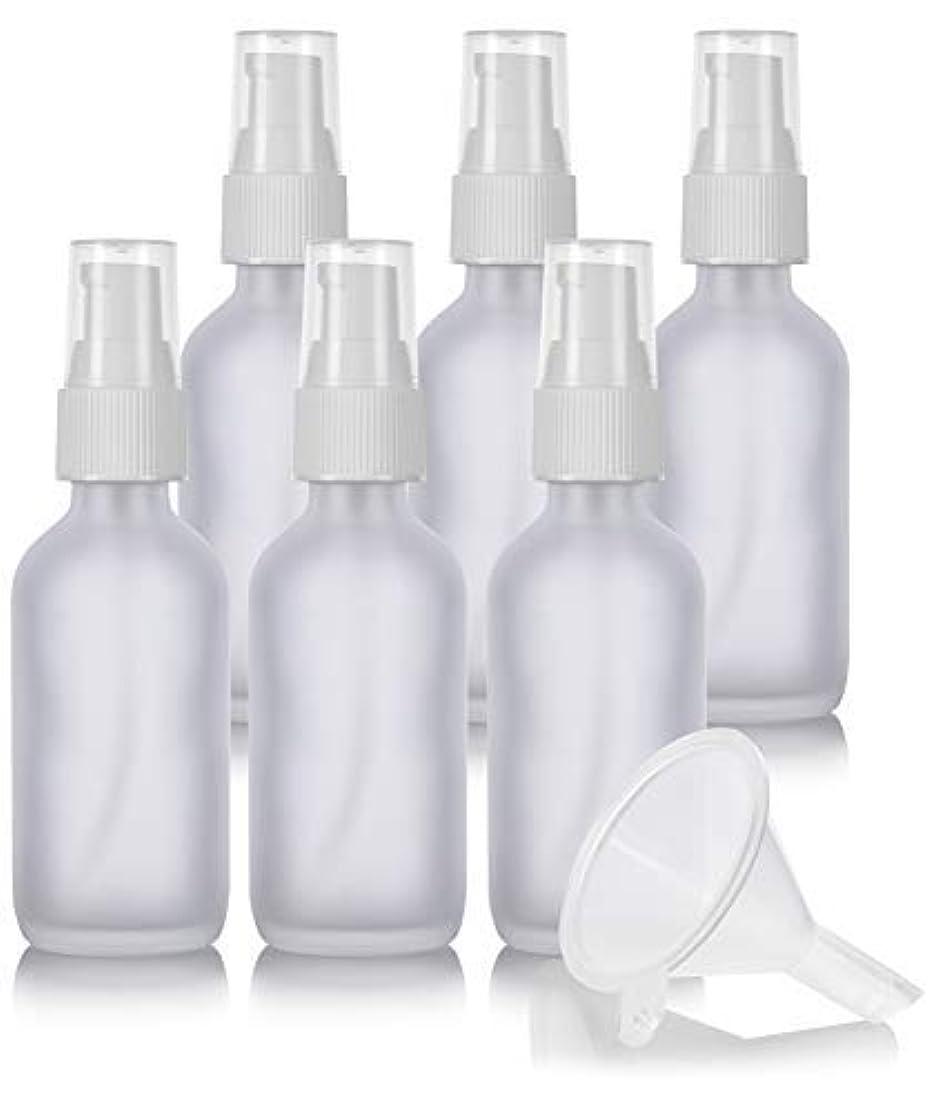 抑制する不規則な不変2 oz Frosted Clear Glass Boston Round White Treatment Pump Bottle (6 Pack) + Funnel and Labels for Cosmetics,...