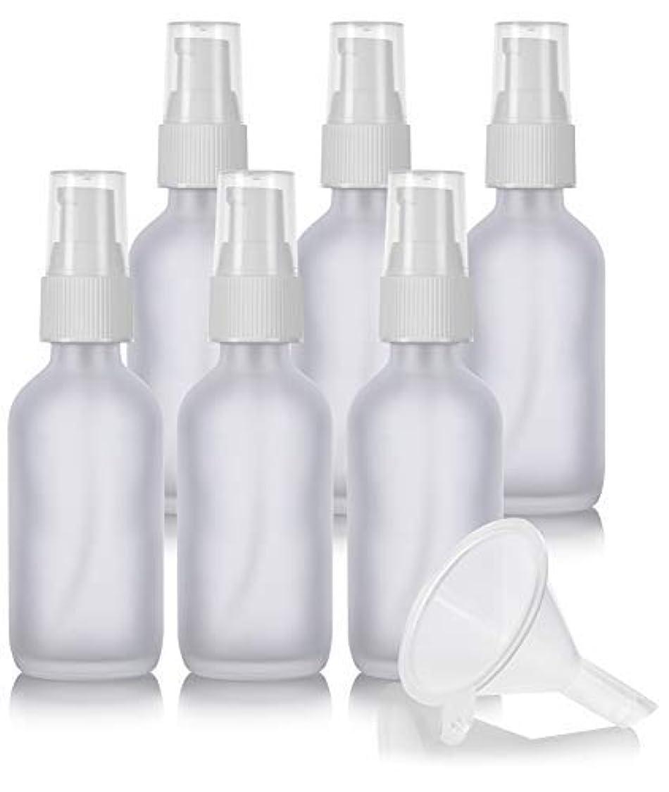 火傷壊れたフィクション2 oz Frosted Clear Glass Boston Round White Treatment Pump Bottle (6 Pack) + Funnel and Labels for Cosmetics, Serums, Essential Oils, Aromatherapy, Food Grade, bpa Free [並行輸入品]