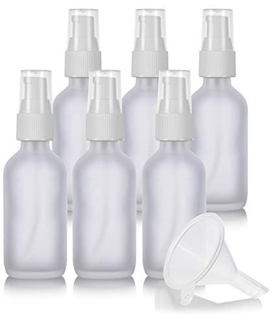 階層未亡人感動する2 oz Frosted Clear Glass Boston Round White Treatment Pump Bottle (6 Pack) + Funnel and Labels for Cosmetics,...