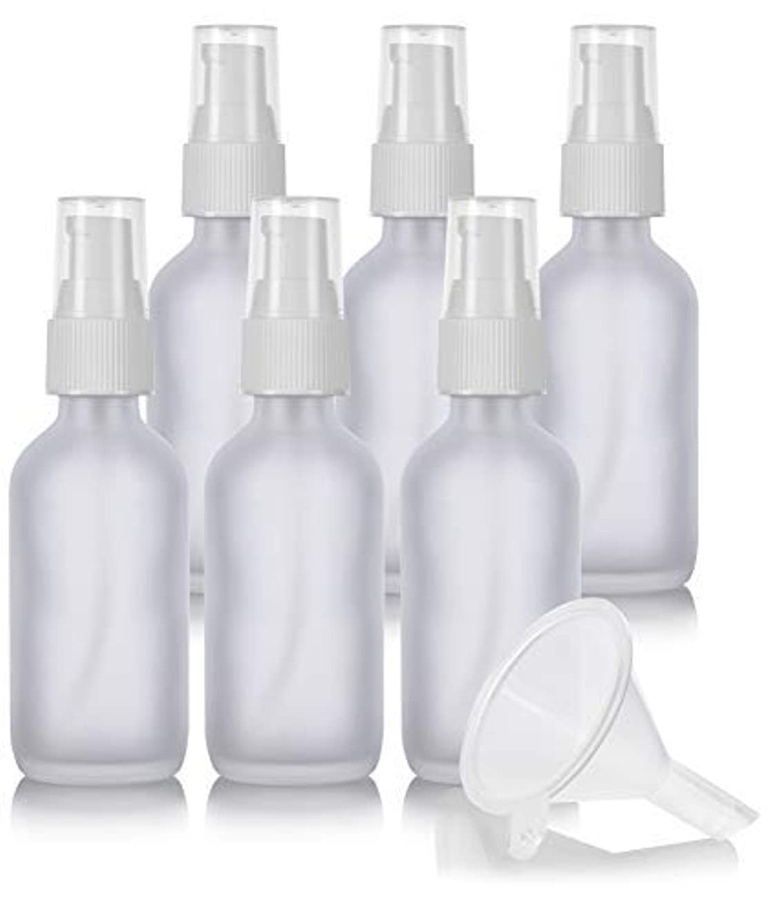 アカデミー笑フロント2 oz Frosted Clear Glass Boston Round White Treatment Pump Bottle (6 Pack) + Funnel and Labels for Cosmetics,...