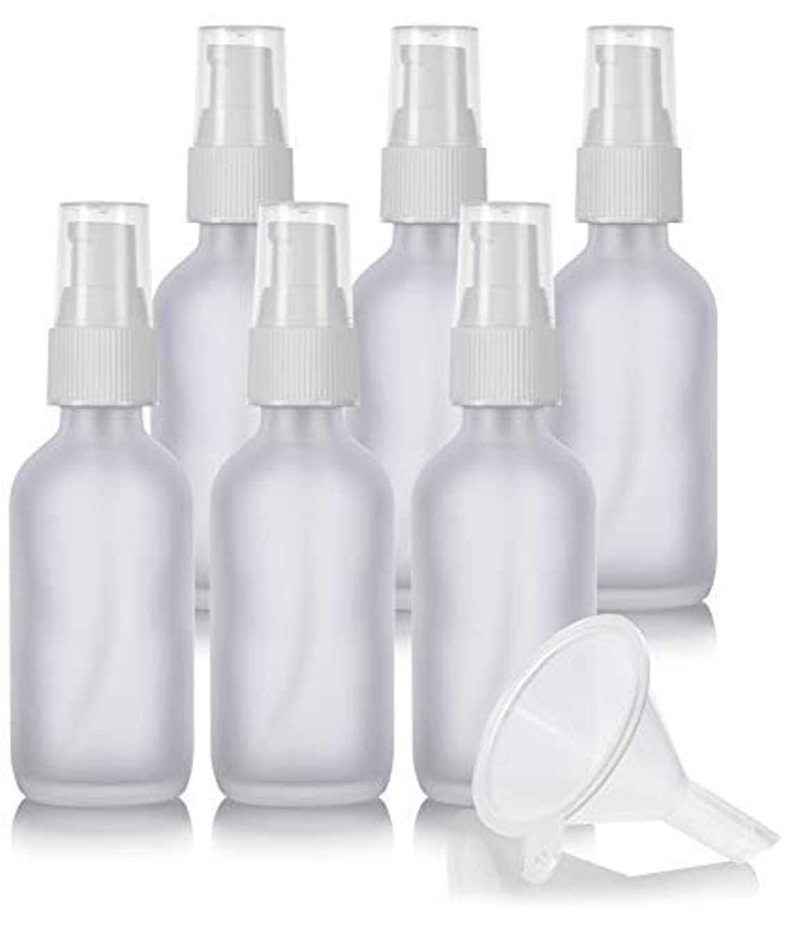 調整可能アンビエント測定可能2 oz Frosted Clear Glass Boston Round White Treatment Pump Bottle (6 Pack) + Funnel and Labels for Cosmetics,...