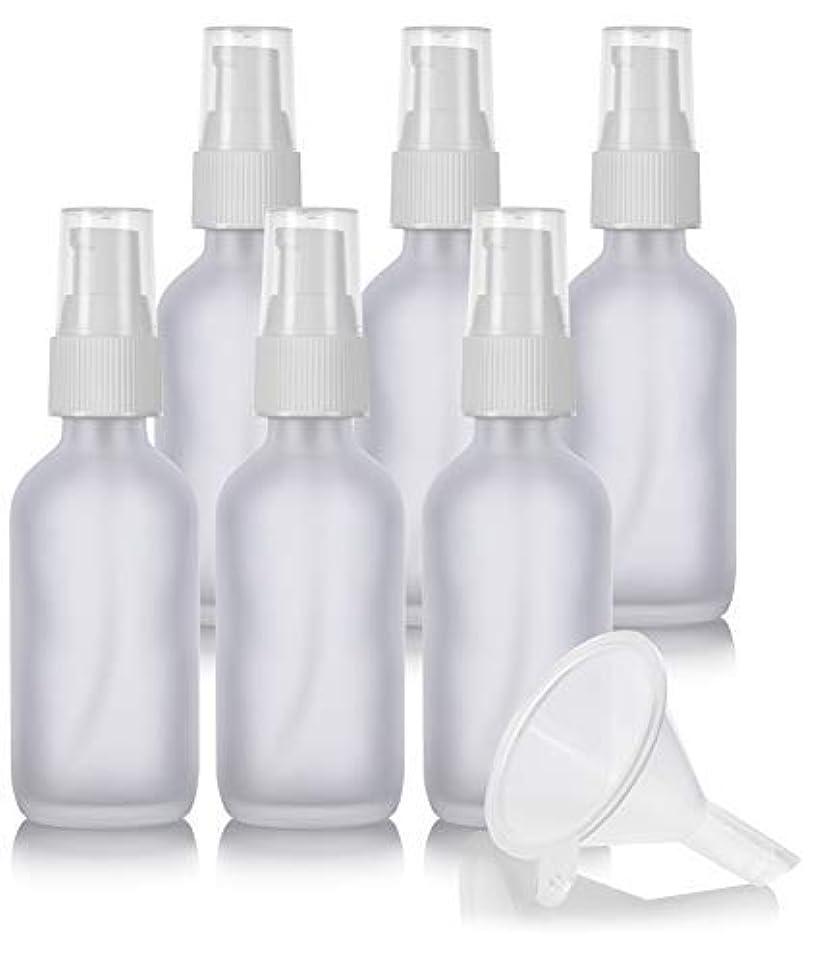 残酷な十億準備した2 oz Frosted Clear Glass Boston Round White Treatment Pump Bottle (6 Pack) + Funnel and Labels for Cosmetics,...