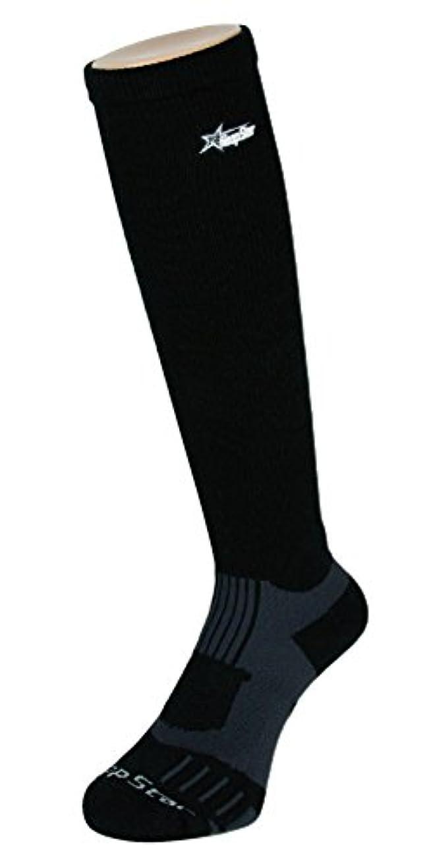 赤面哲学者八フープスター バスケット着圧ハイソックス ブラック×グレー