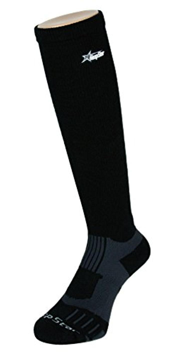 松コーンウォールゴムフープスター バスケット着圧ハイソックス ブラック×グレー