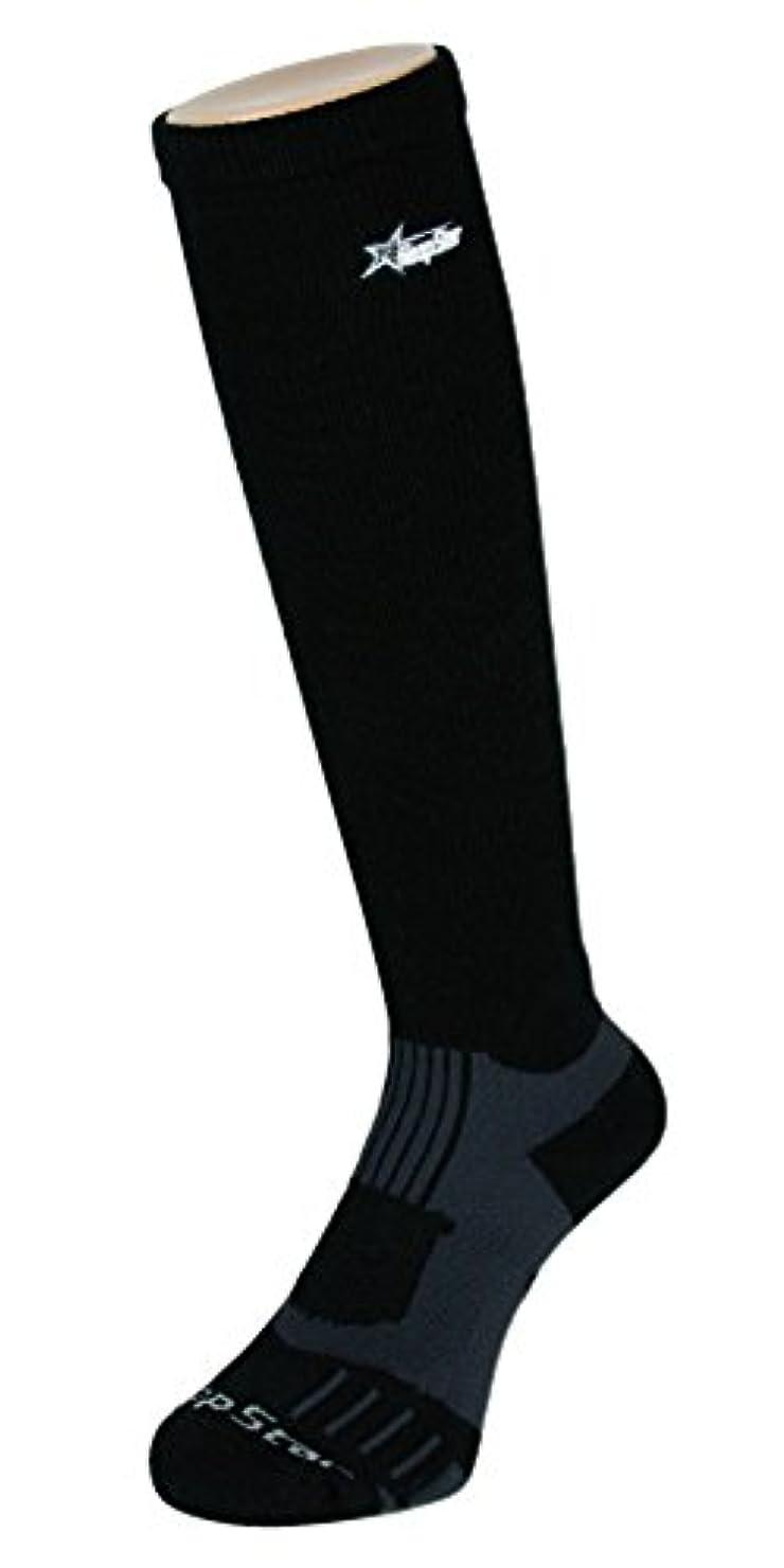 スパイラル本魅力的であることへのアピールフープスター バスケット着圧ハイソックス ブラック×グレー