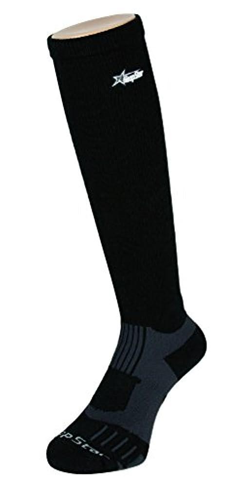 手配するお母さんコントラストフープスター バスケット着圧ハイソックス ブラック×グレー
