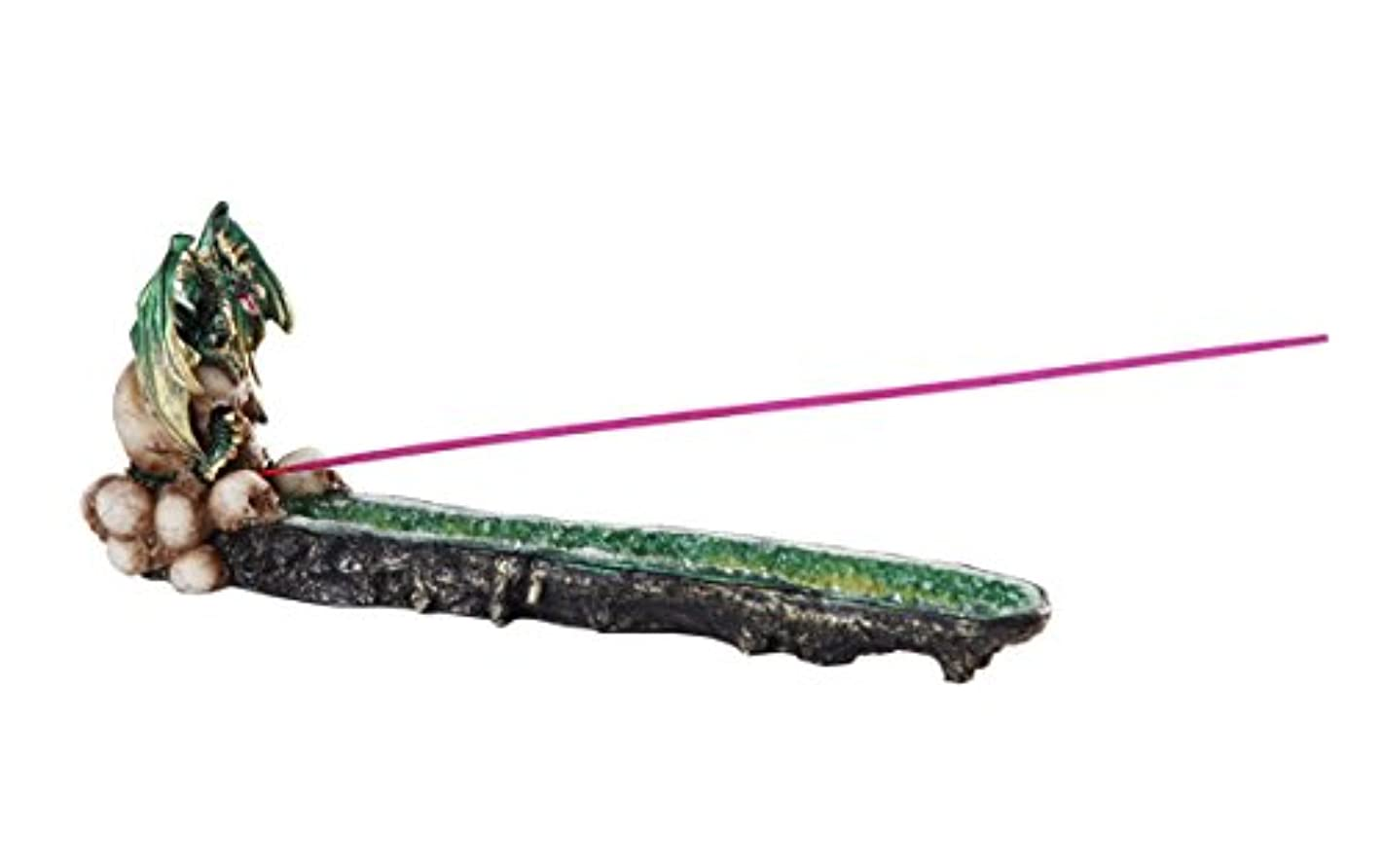 代表団集計飢グリーンドラゴンon Skull GemstoneクォーツStick Incense Burner中世ファンタジー10.75インチL