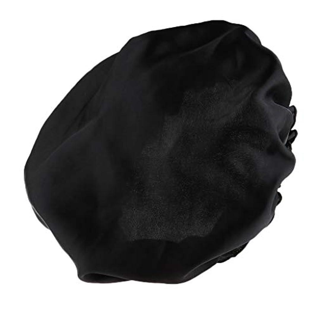 毛細血管軍艦うがいシャワーキャップ シルクサテン 眠り帽子 ヘッドカバー 睡眠キャップ ヘアケア 全8色 - ブラック