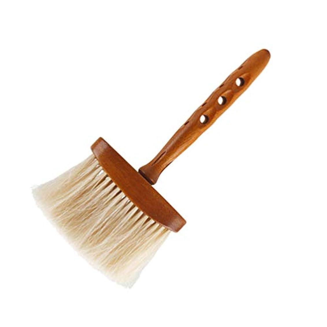 プレート識別する否認するLurrose ヘアカットブラシプロフェッショナル理髪ブラシ木製ハンドル付きソフトネックブラシ用男性女性子供