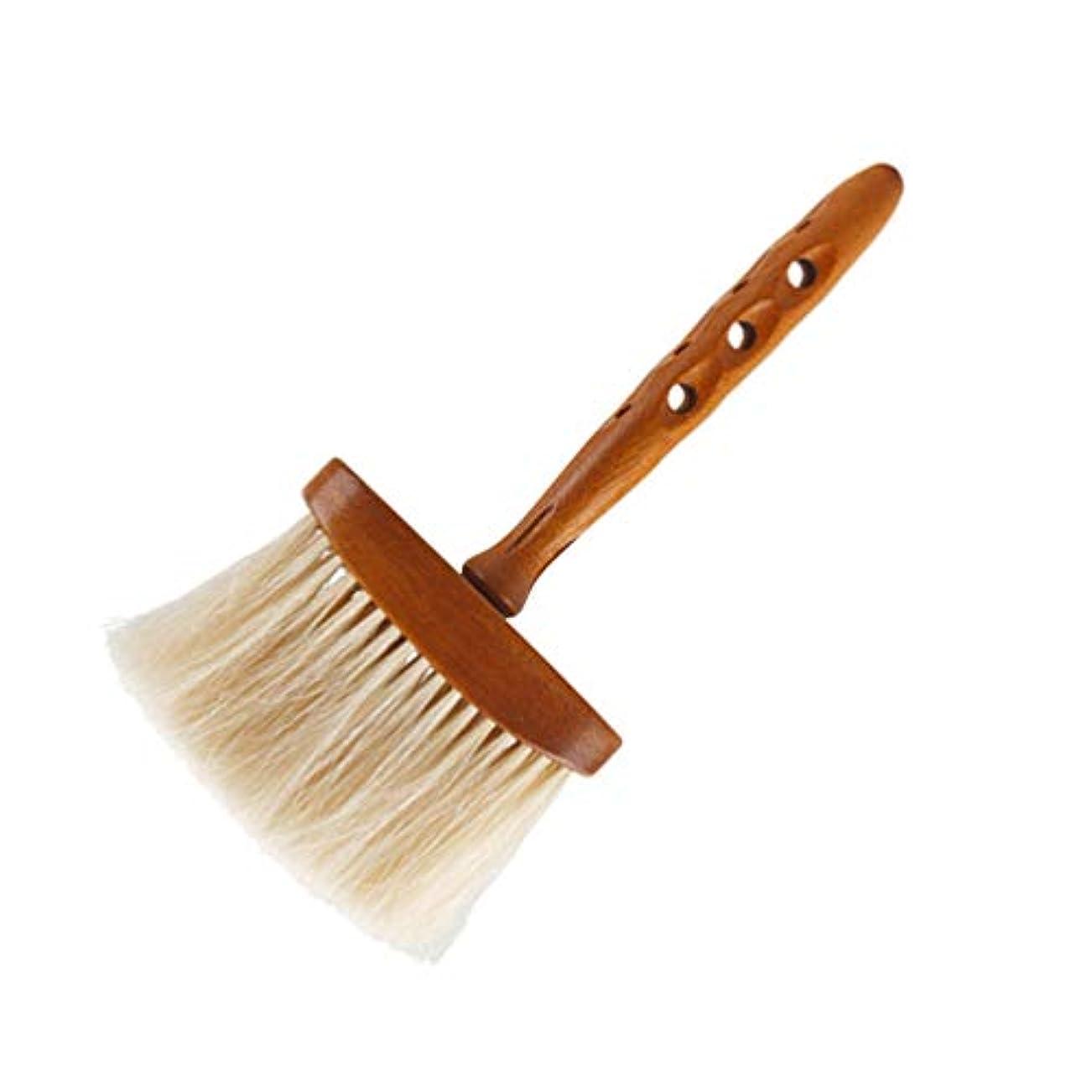 履歴書触覚ウェーハLurrose ヘアカットブラシプロフェッショナル理髪ブラシ木製ハンドル付きソフトネックブラシ用男性女性子供