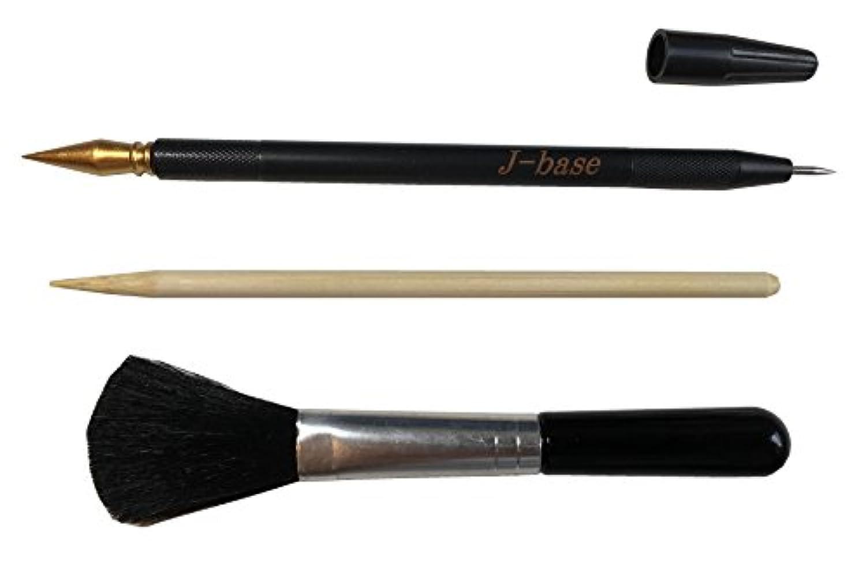 J-base スクラッチペン 竹串 刷毛 三点セット スティック スクレーパー スクラッチアート