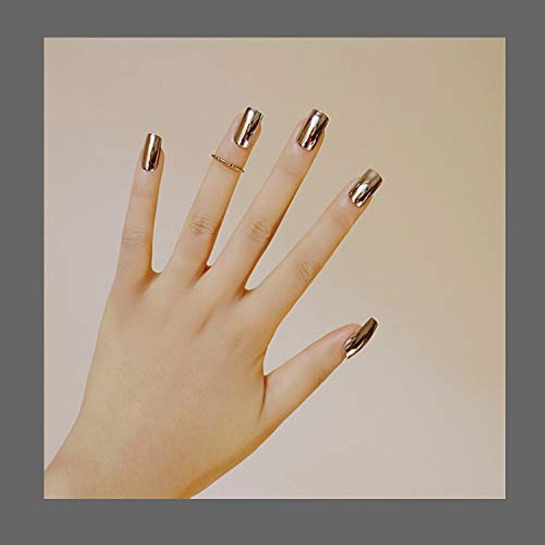 木製洪水コロニー欧米で流行るパンク風付け爪 色変化のミラー付け爪 24枚付け爪 フラットヘッド 銀