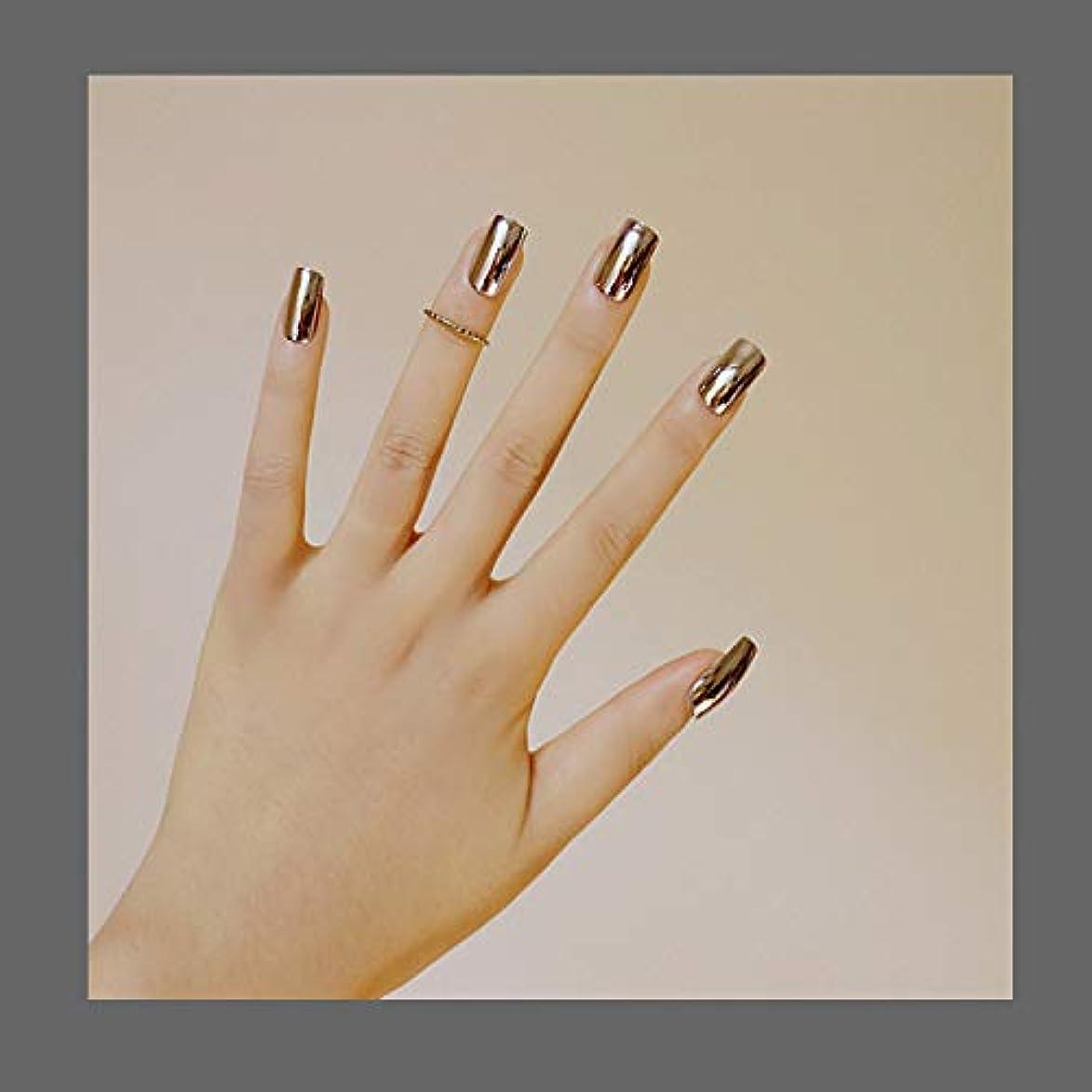 百科事典真向こう露出度の高い欧米で流行るパンク風付け爪 色変化のミラー付け爪 24枚付け爪 フラットヘッド 銀