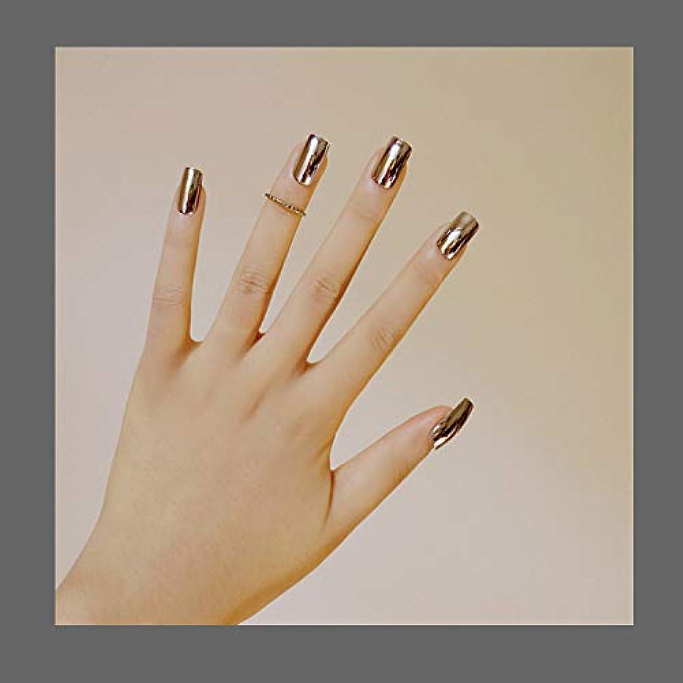 サイバースペース土曜日下線欧米で流行るパンク風付け爪 色変化のミラー付け爪 24枚付け爪 フラットヘッド 銀