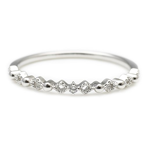 [ココカル]cococaru ダイヤモンド リング プラチナ Pt900 指輪 ピンキーリング ミル打ち 重ね付け 天然 ダイヤ 日本製