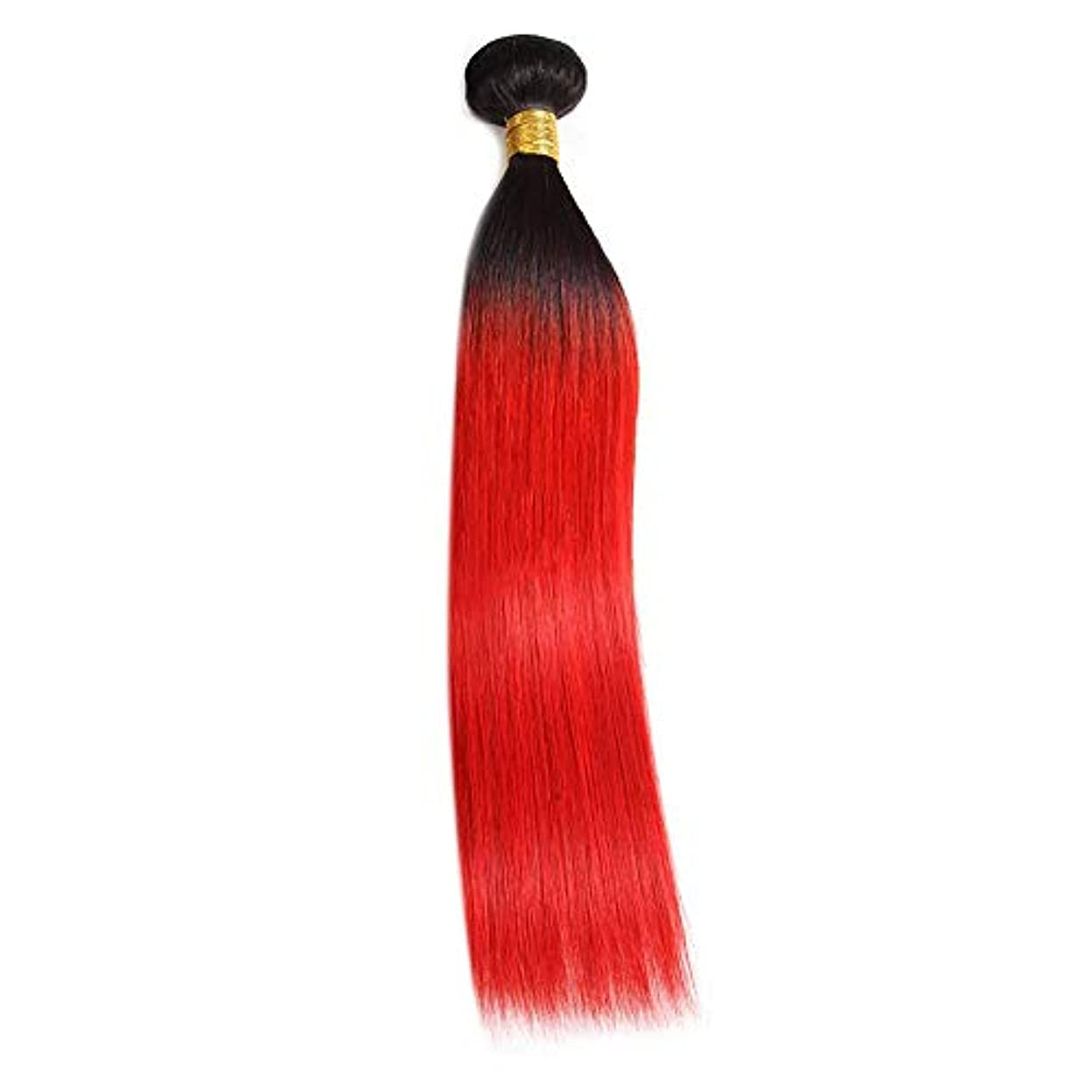 コロニアル小麦粉プレゼンHOHYLLYA ストレートの髪飾り100%本物の人間の髪の横糸赤毛エクステンションロールプレイングかつら女性のかつら (色 : Bundle, サイズ : 18 inch)
