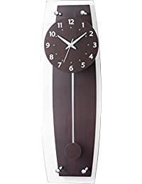 電波壁掛け時計 Laurencia ローレンシア 電波振り子時計 W-679 電波時計 ウォールクロック ウッド アンティーク調 (ブラウン)