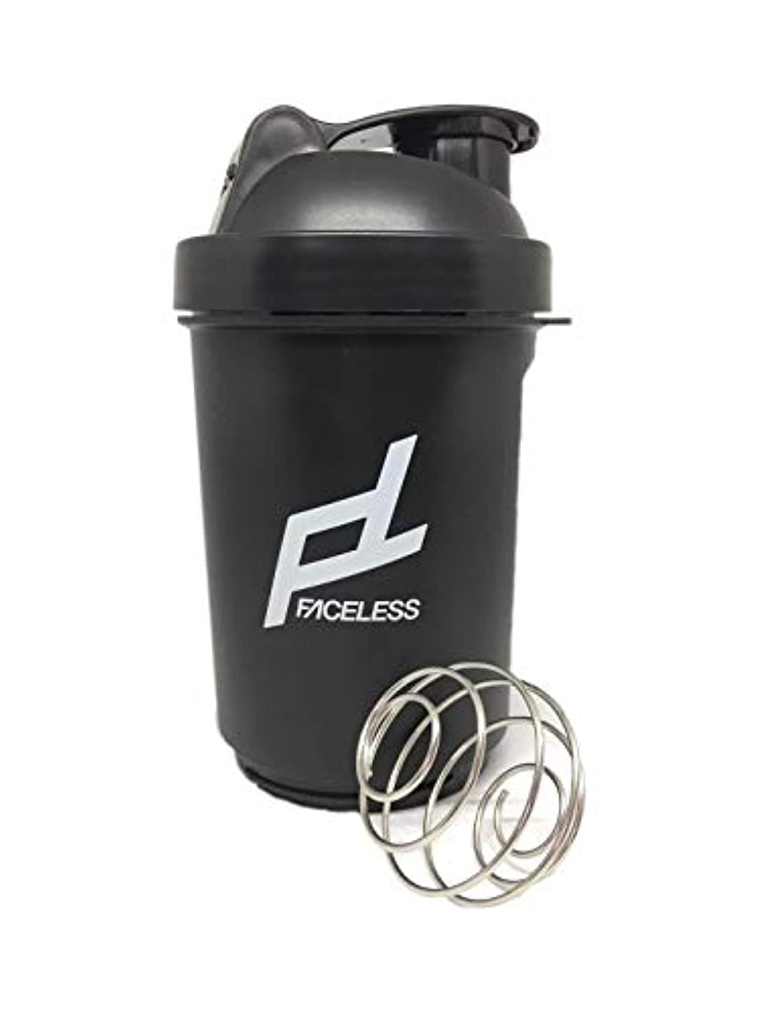 綺麗な通知するクアッガFACELESS シェイカーボトル サプリケース 持ち運び可能 フィットネス (黒, 500ML)