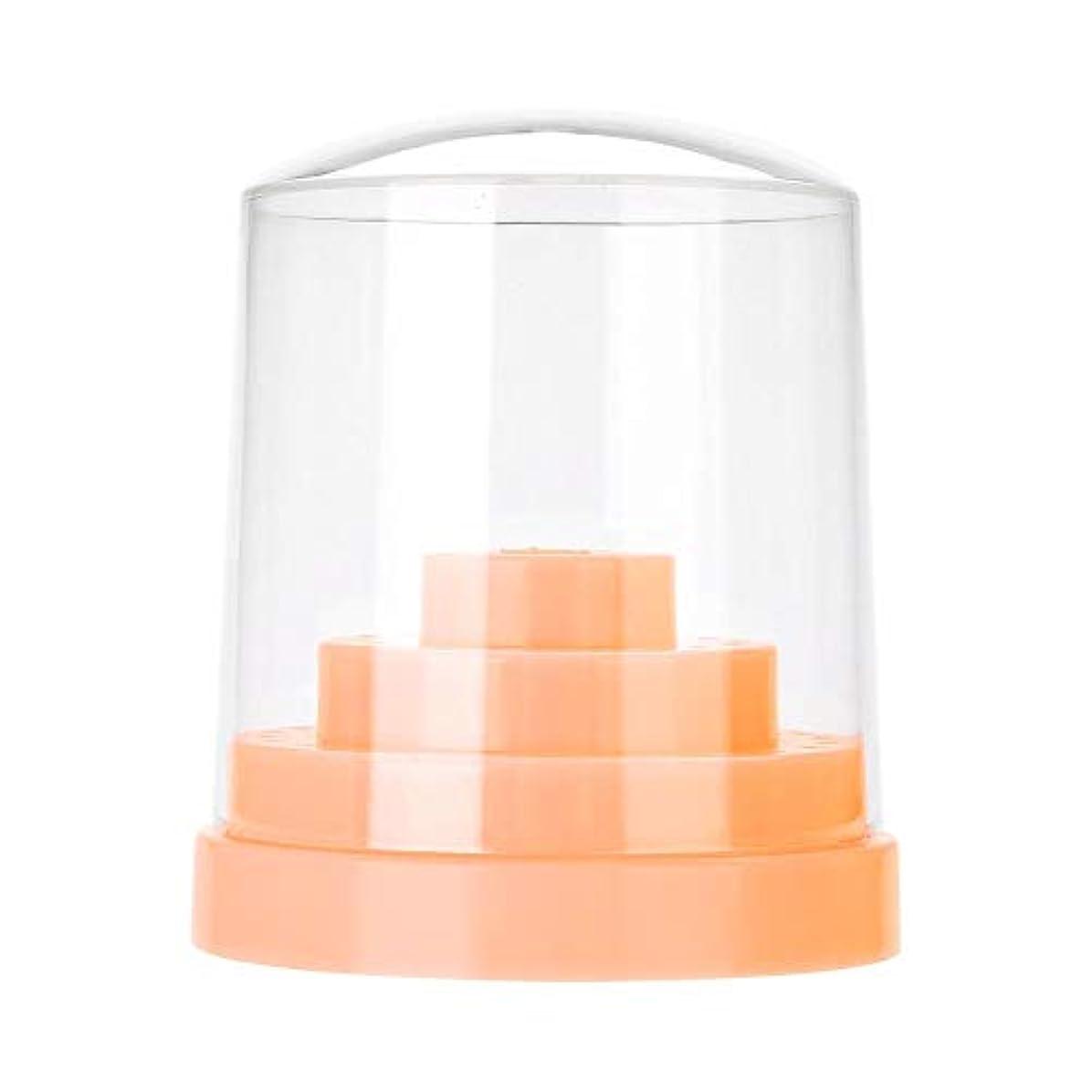 頑固な発明発言するネイルドリルスタンド、48穴ネイルアートプラスチックネイルケアドリルスタンドホルダードリルビットディスプレイオーガナイザーボックスアートアクセサリー(オレンジ)