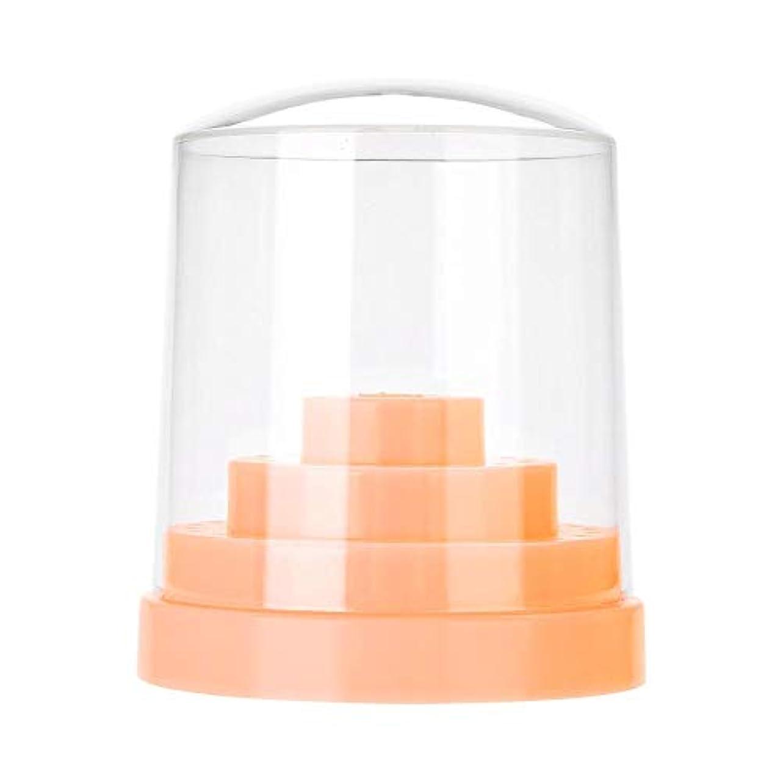 サンダルご覧ください集中ネイルドリルスタンド、48穴ネイルアートプラスチックネイルケアドリルスタンドホルダードリルビットディスプレイオーガナイザーボックスアートアクセサリー(オレンジ)