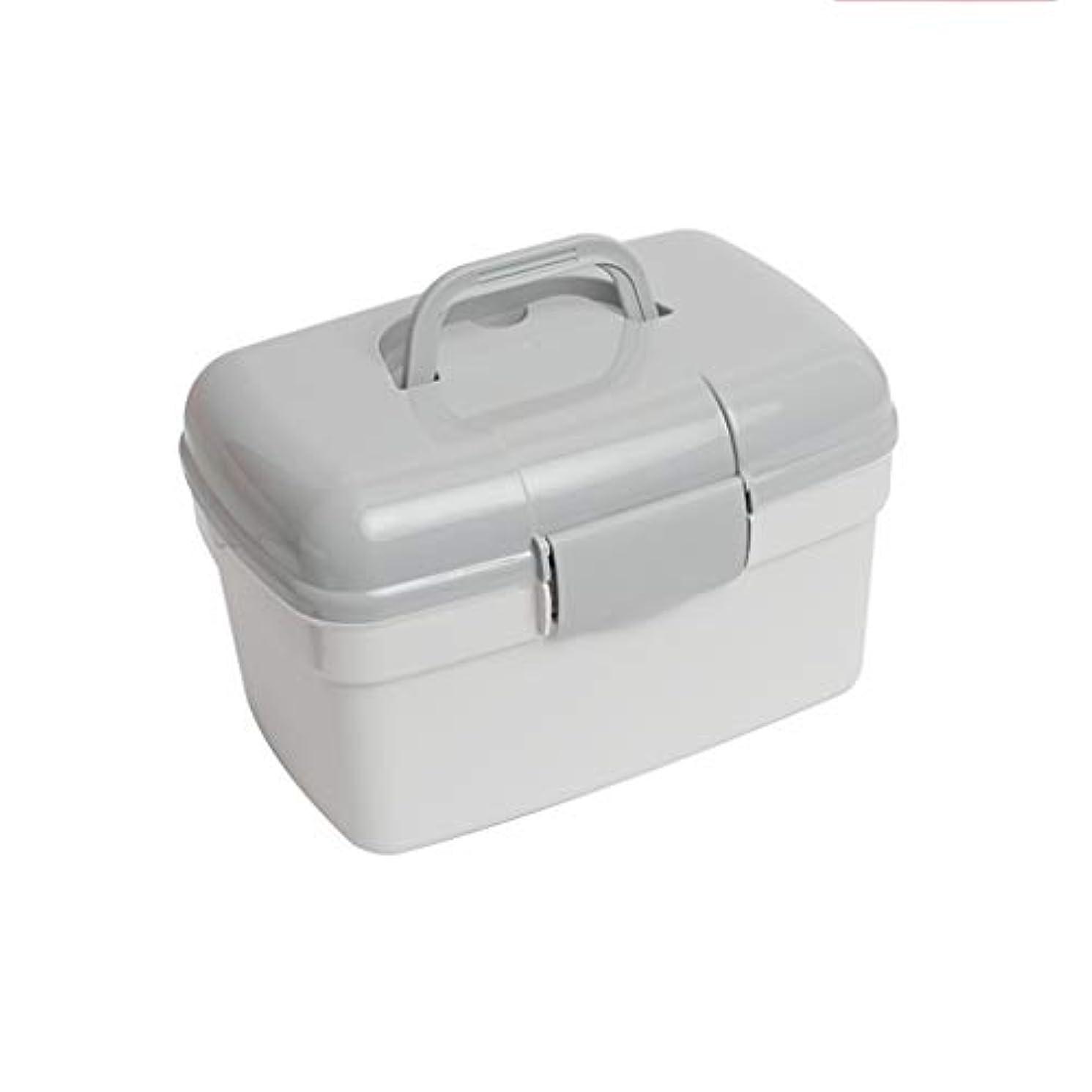 仕方講義からLWBUKK 家族用多層医療キット、プラスチック製医療用収納ボックス、家族用救急箱 医療箱 (Color : Gray)