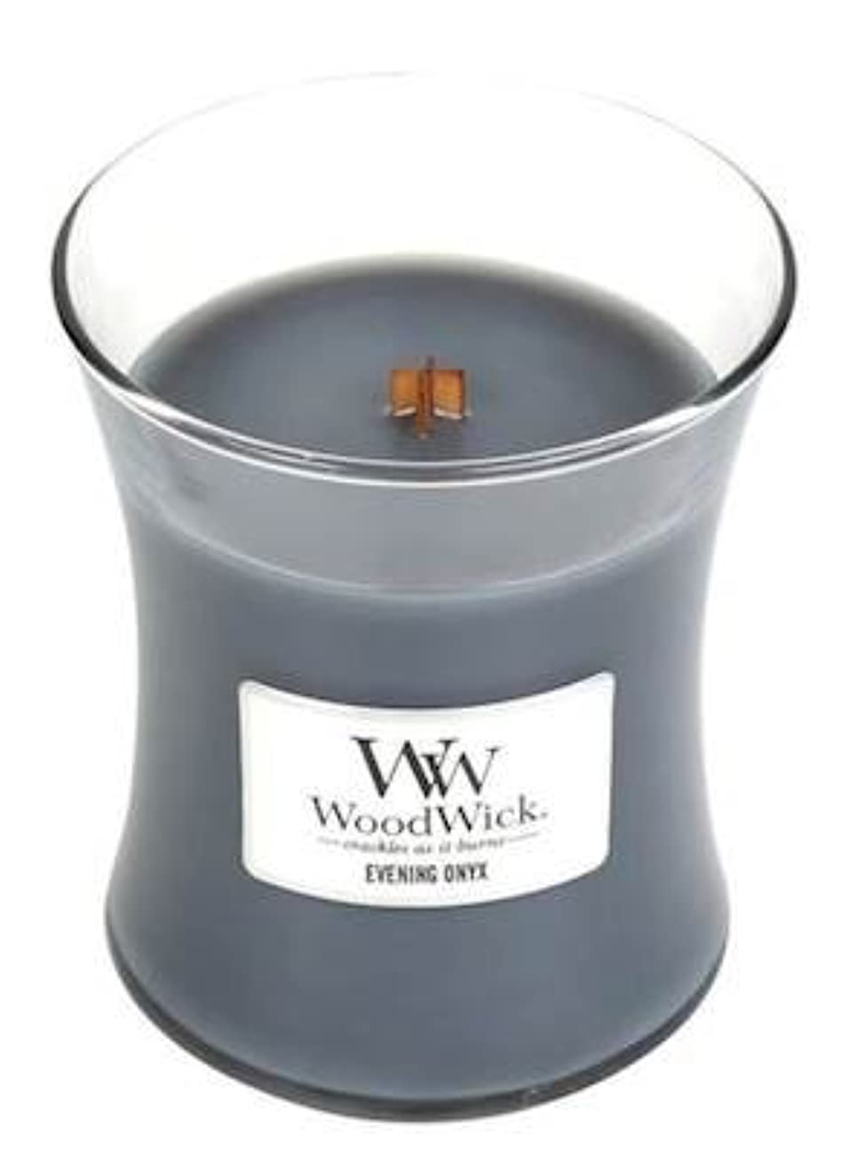 草許可スクラップイブニングオニキスWoodWick 10 oz Medium砂時計Jar Candle Burns 100時間