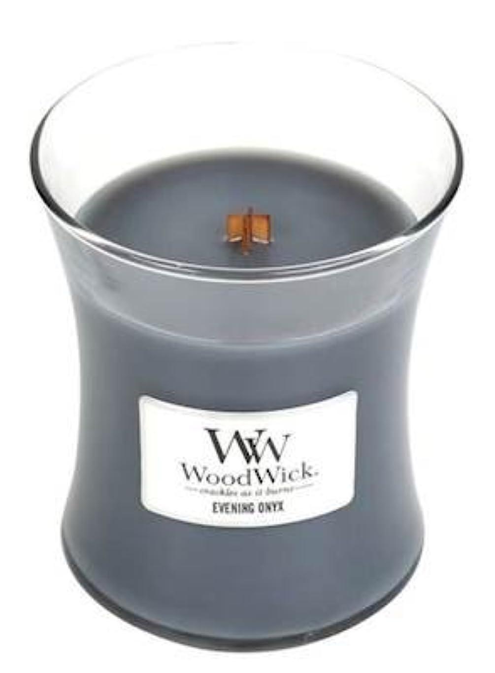 イブニングオニキスWoodWick 10 oz Medium砂時計Jar Candle Burns 100時間
