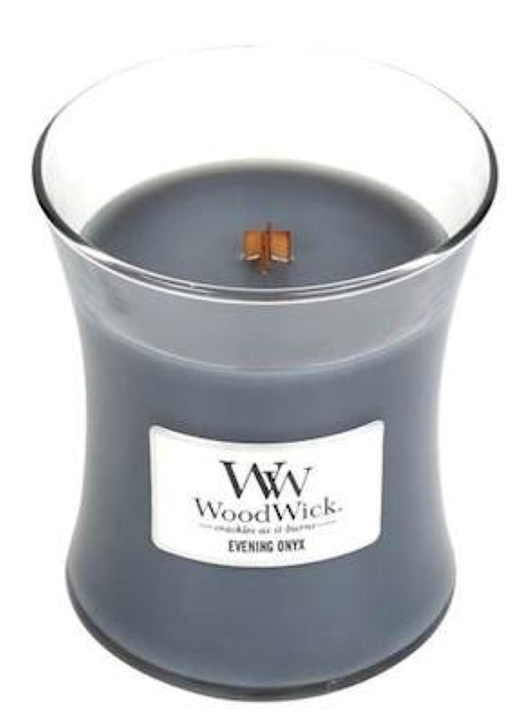 顎時系列胸イブニングオニキスWoodWick 10 oz Medium砂時計Jar Candle Burns 100時間