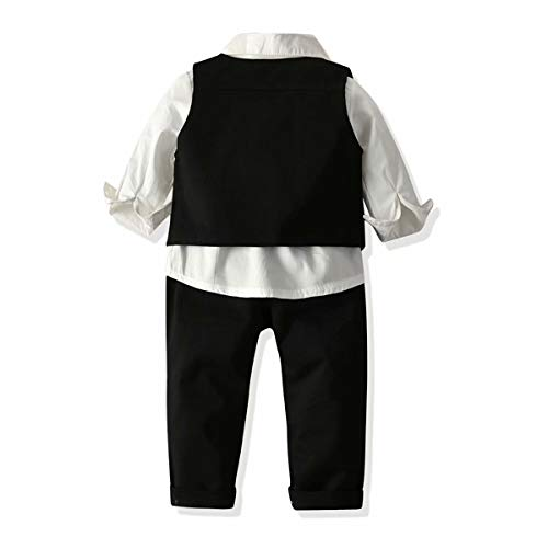 SANGTREE Baby Boy's Tuxedo Clothes, 3 Pieces Fall Winter Outfit, Long Sleeves Button Down Dress Shirt with Bow Tie + Vest + Pants Set Gentlemen Clothing, Black, 7-8 Years Big Kid = Tag 150