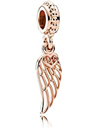 PANDORA Charm Rose Gold Love and Angel wing Hanging Charm