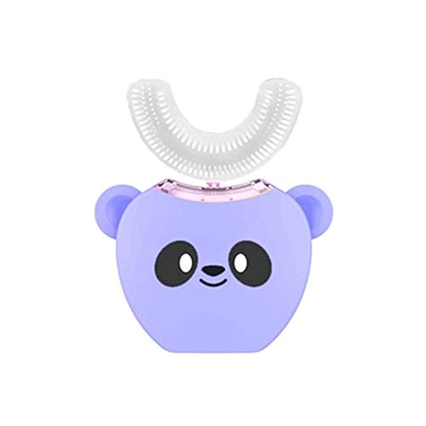 破壊的アプライアンス災難子供に愛され、子供の子供の赤ちゃん3-6-12ソニック自動歯ブラシ、U字型、3次元自動充電の怠populationな人口-purple8-16