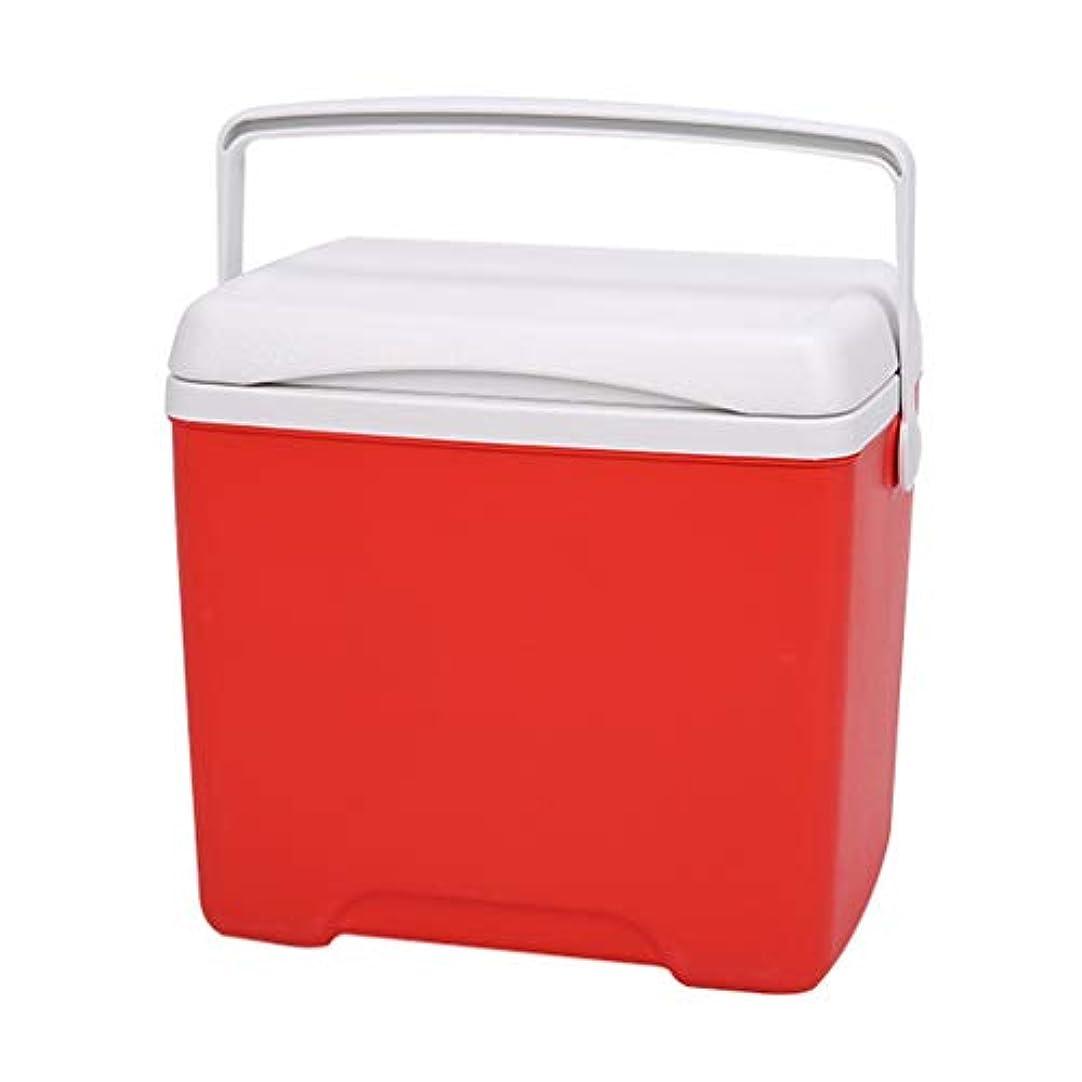 覚醒スカープ乗り出す13 Lポータブルクーラークール断熱ボックス、寒いまたは暖かいミニ冷蔵庫冷蔵庫ハンドルとふた付きキャンプフェスティバルビーチピクニック車、30×30×22センチ (Color : Red)