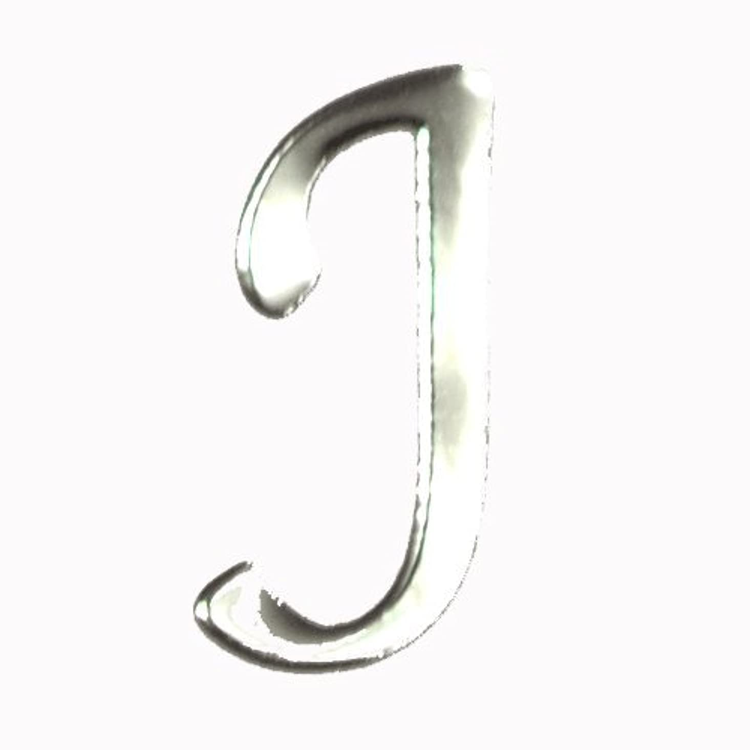 コジオスコ保険をかけるタイトアルファベット 薄型メタルパーツ 20枚 /片面仕上げ イニシャルパーツ SILVER (J / 6x5mm)