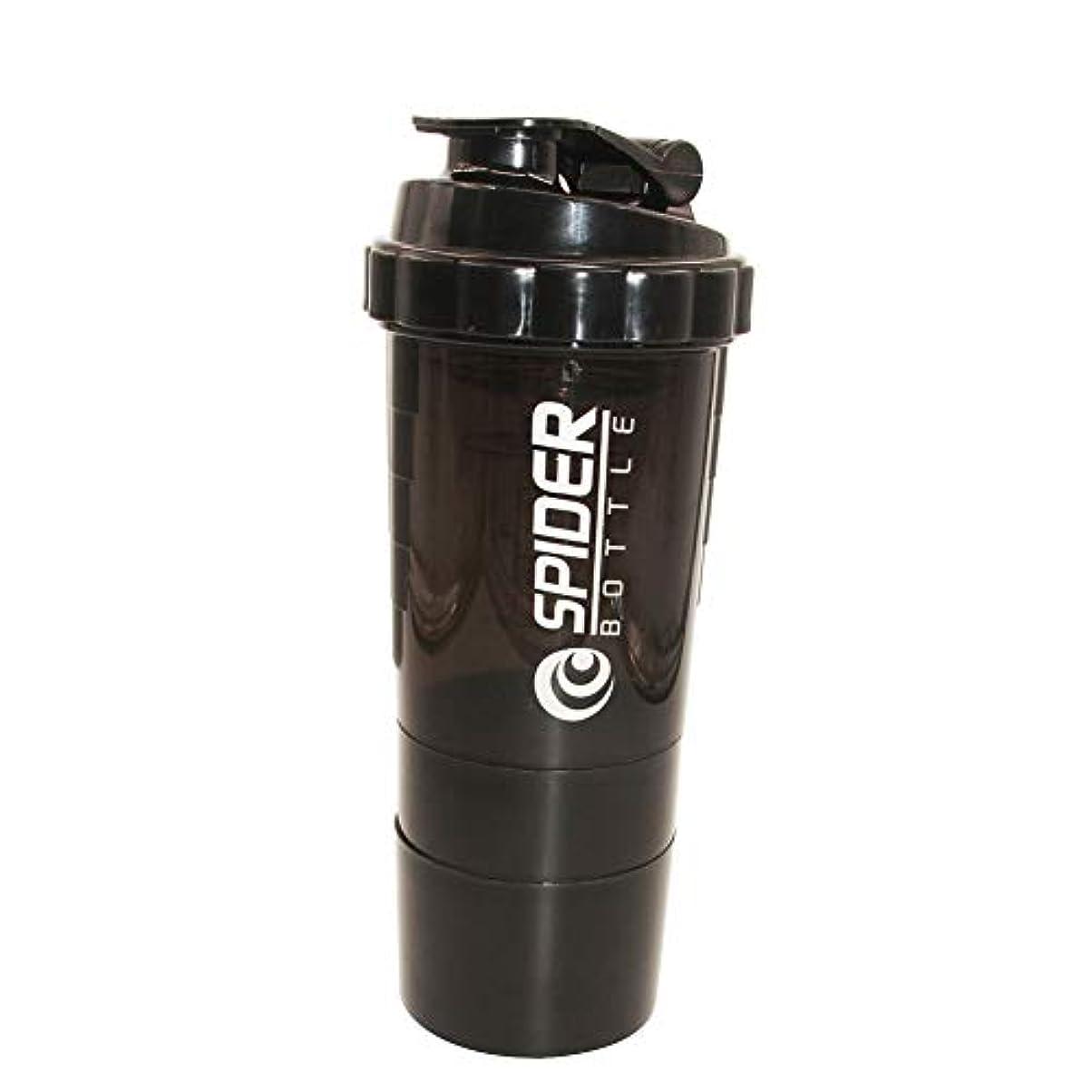 ボトル公審判プロテインシェイカー プラスチックボトル シェーカーボトル フィットネス用 プラスチック 目盛り ジム スポーツ 600ml 3層プロテインボックス 大容量 (Black)