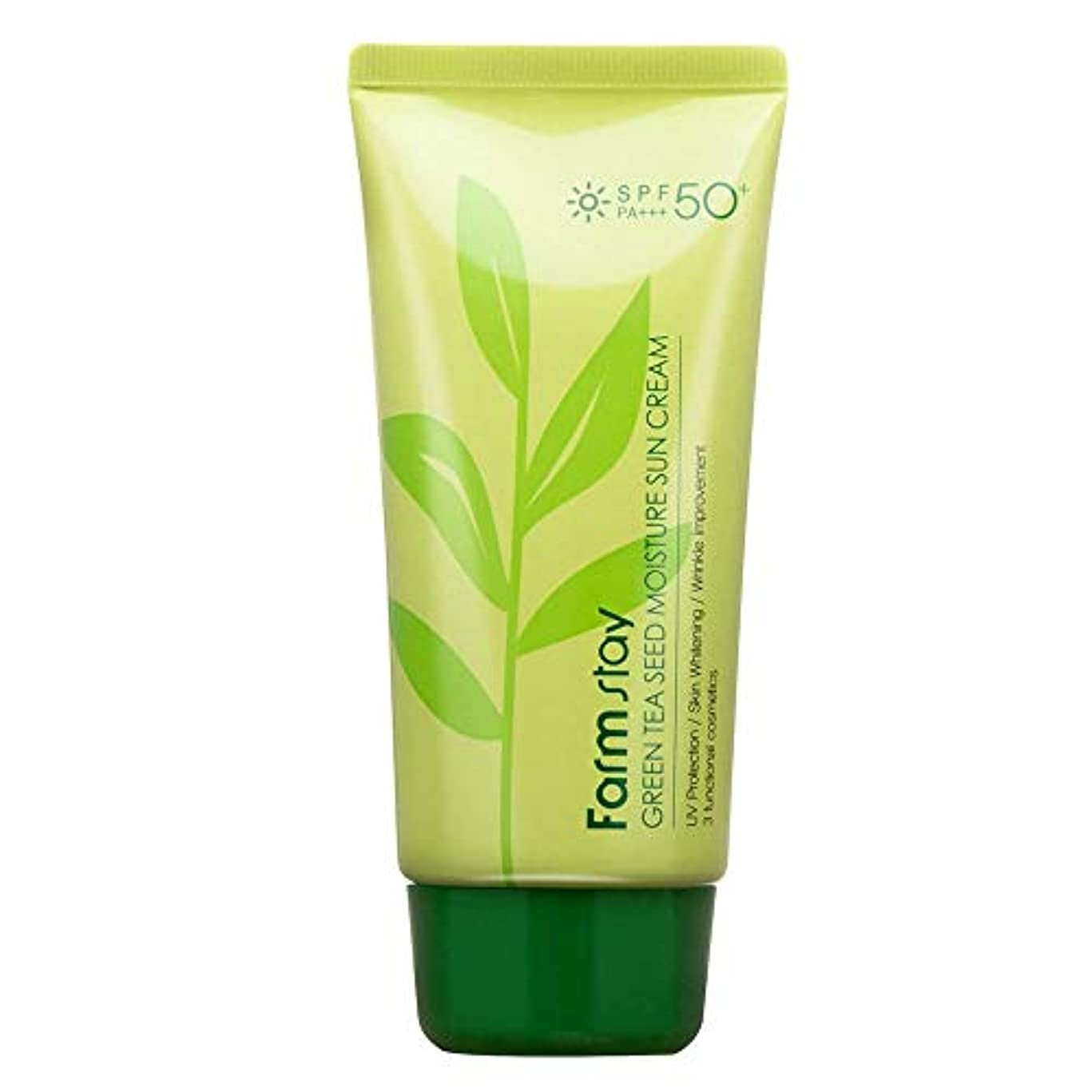 根絶する中毒青ファームステイ[Farm Stay] グリーンティーシードモイスチャーサンクリーム 70g (美白&しわ防止) / Green Tea Seed Moisture Sun Cream