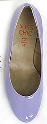 エナメルラウンドトゥパンプス ライトパープル(エナメル) S